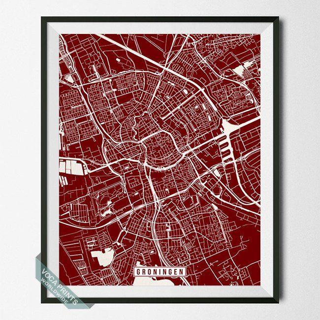 Groningen netherlands street map print groningen and modern groningen netherlands street map print publicscrutiny Images