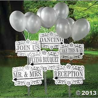 Reception Yard Signs Kit Oriental Trading 26 For 42 Pieces Comes With Balloons And Stakes Signs Point Both Wedding Signs Wedding Supplies Reception Party