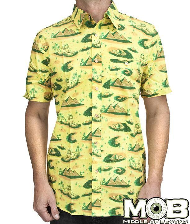 e2f6f00f6a39 Ancient Alien Pyramid Short Sleeve Button-Up Shirt