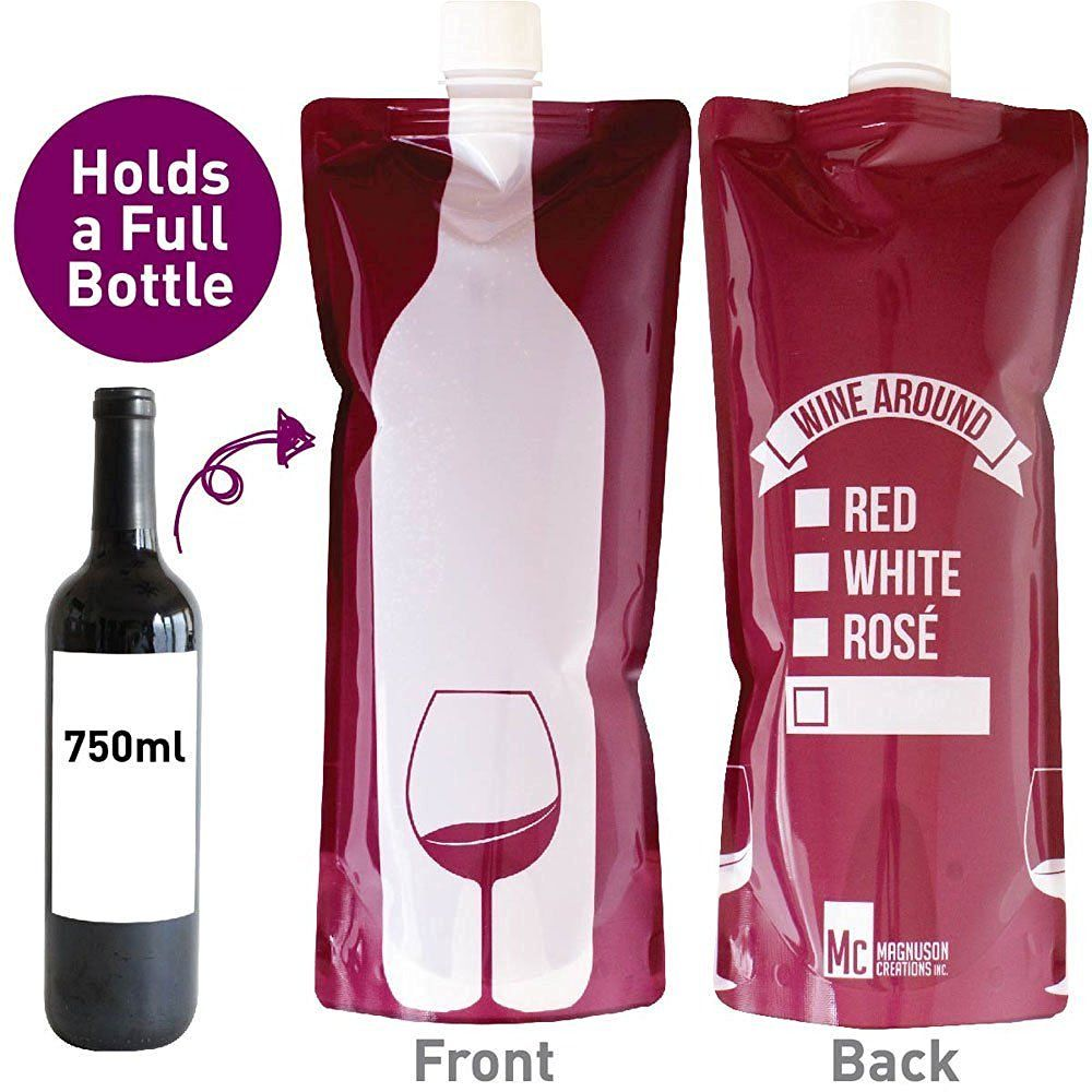 Amazon Com Wine Around Foldable To Go Wine Bottle Bottle Of Wine In A Fun Wine Bottle Red And White Roses Red And White