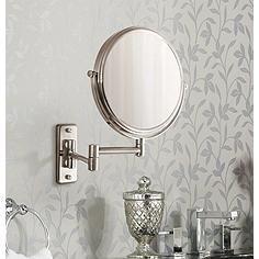 Satin Nickel Wall Mounted Dual Jointed Mirror Wall Mounted Makeup Mirror Wall Mounted Mirror Mirror