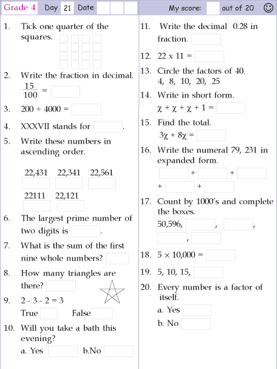 Mental Math Grade 4 Day 21 Maths Worksheets Ks2 Studying Math Basic Math
