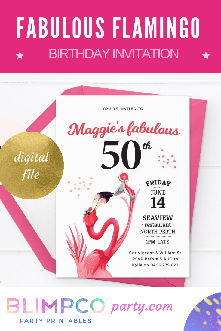 Flamingo Invitation 50th Birthday Invitations 40th Invites