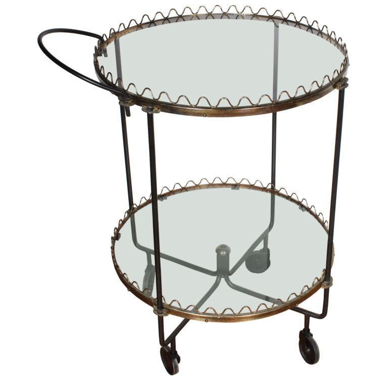 Scalloped French Bar Cart  France  Mid 20th Century  Jean Royere influenced scalloped two tier brass, iron and brass bar cart.
