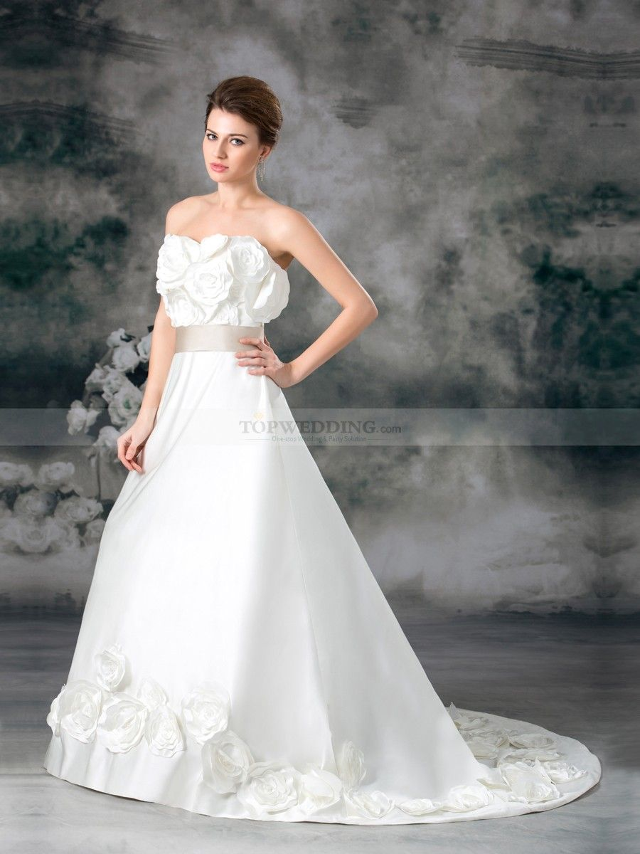 Strapless Satin A Line Wedding Dress with Rosette and Sash