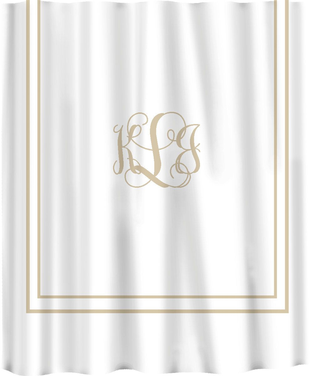 Black and white monogrammed shower curtain - Custom Shower Curtain Simplicity In White Or Cream With Monogram In Your Colors Can