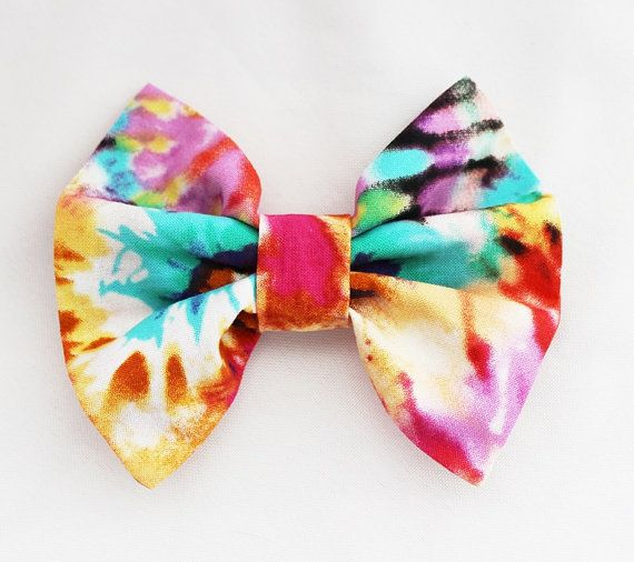 Tie Dye Hair Bow Rainbow