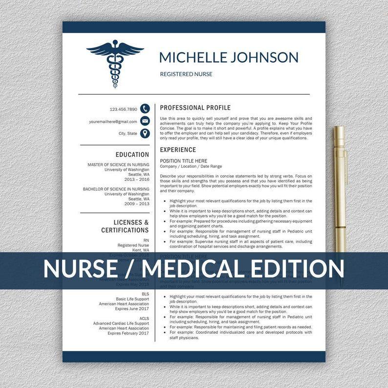 Nurse Resume/CV Template Medical Cover Letter Mac & PC