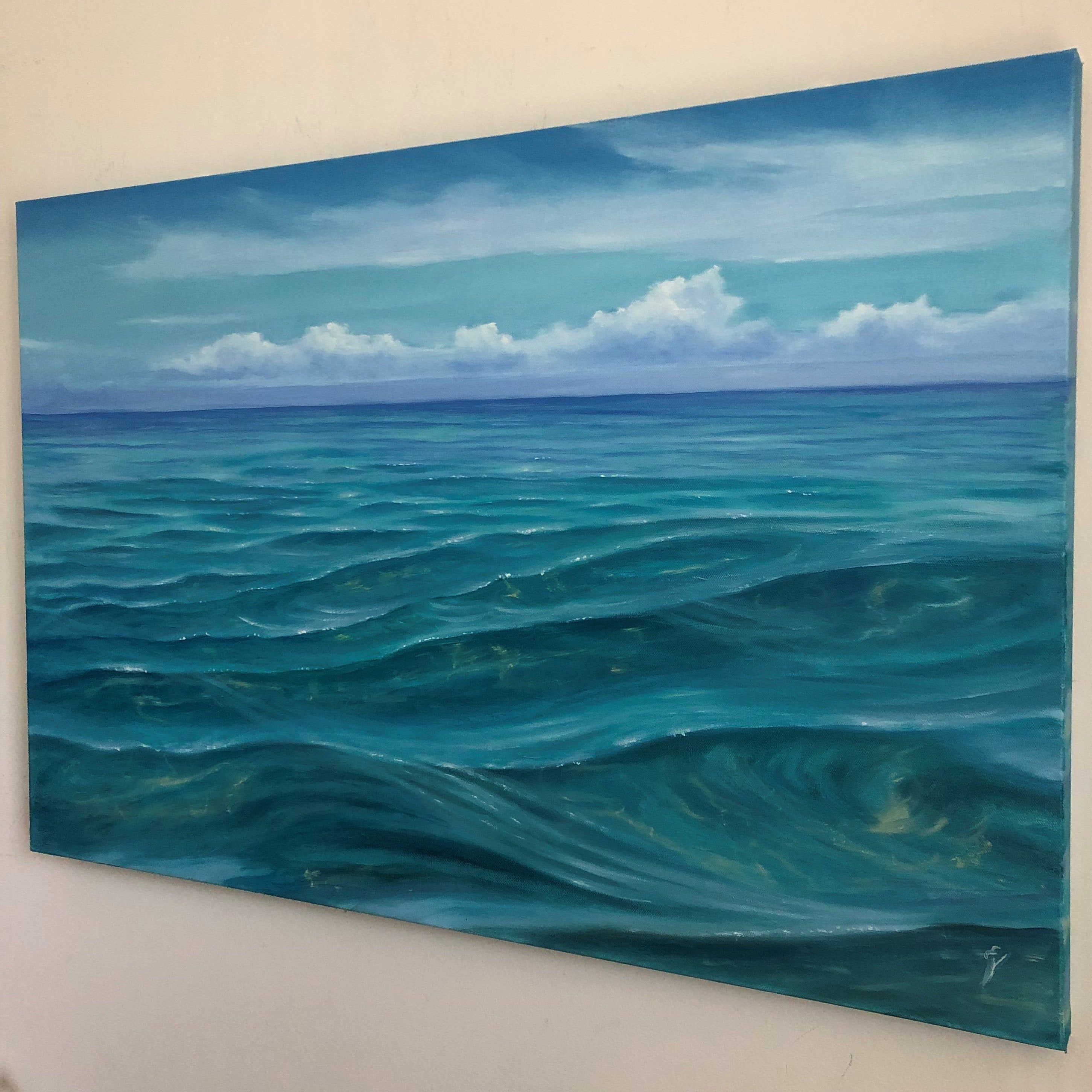 Embracing Tranquility Large Original Turquoise Clear Water Oil Painting On Canvas By Eva Volf Oil Painting Landscape Ocean Painting Oil Painting On Canvas