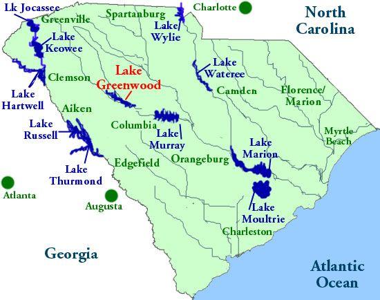 south carolina lakes map Map Of Lakes In South Carolina Lakefront Homes For Sale South south carolina lakes map