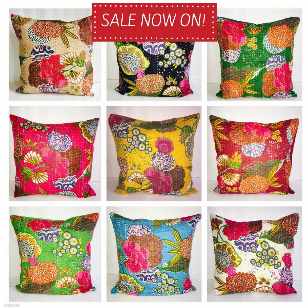 Indian floor pillow cotton floral kantha cushion cover embroidery