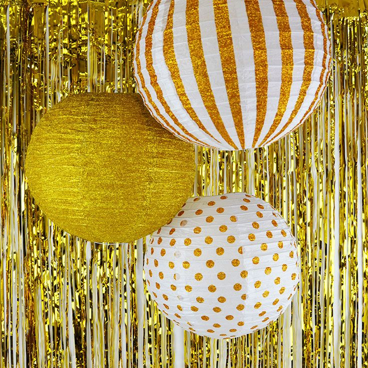 Your Party Will Be Golden With These Glitter Paper Lanterns They Make Easy And Affordable Dec Gold Glitter Paper Wedding Anniversary Decorations Glitter Paper
