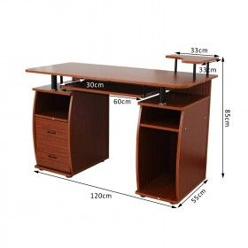 Mesa de ordenador pc mobiliario 120x55x85cm oficina - Mesa ordenador madera ...