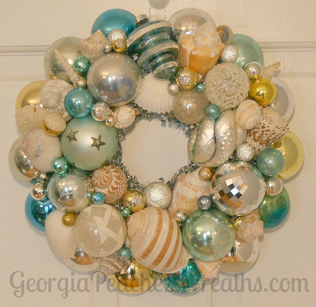 Christmas beach ornaments - Beach Themed Christmas Wreath Idea Made From Vintage Shiny Brites Ornaments And Seashells Via