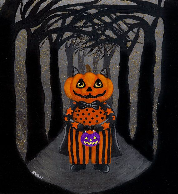 The Pumpkin Cat Halloween Original Folk Art by KilkennycatArt, $40.00