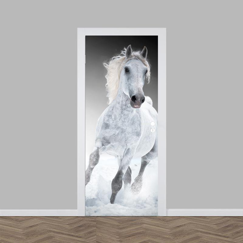 Deursticker Rennend paard wit. Toe aan verandering  Verven niet nodig! Deze  deursticker plak e812e2ac46
