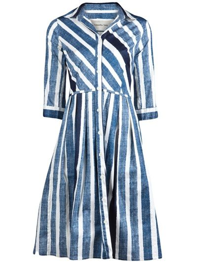 Audrey yacht stripe dress in indigo and white from Samantha Sung. This cotton-stretch shirt dress features a collar with button down placket, three-quarter length sleeves with button cuffs, and full pleated skirt with side pockets.
