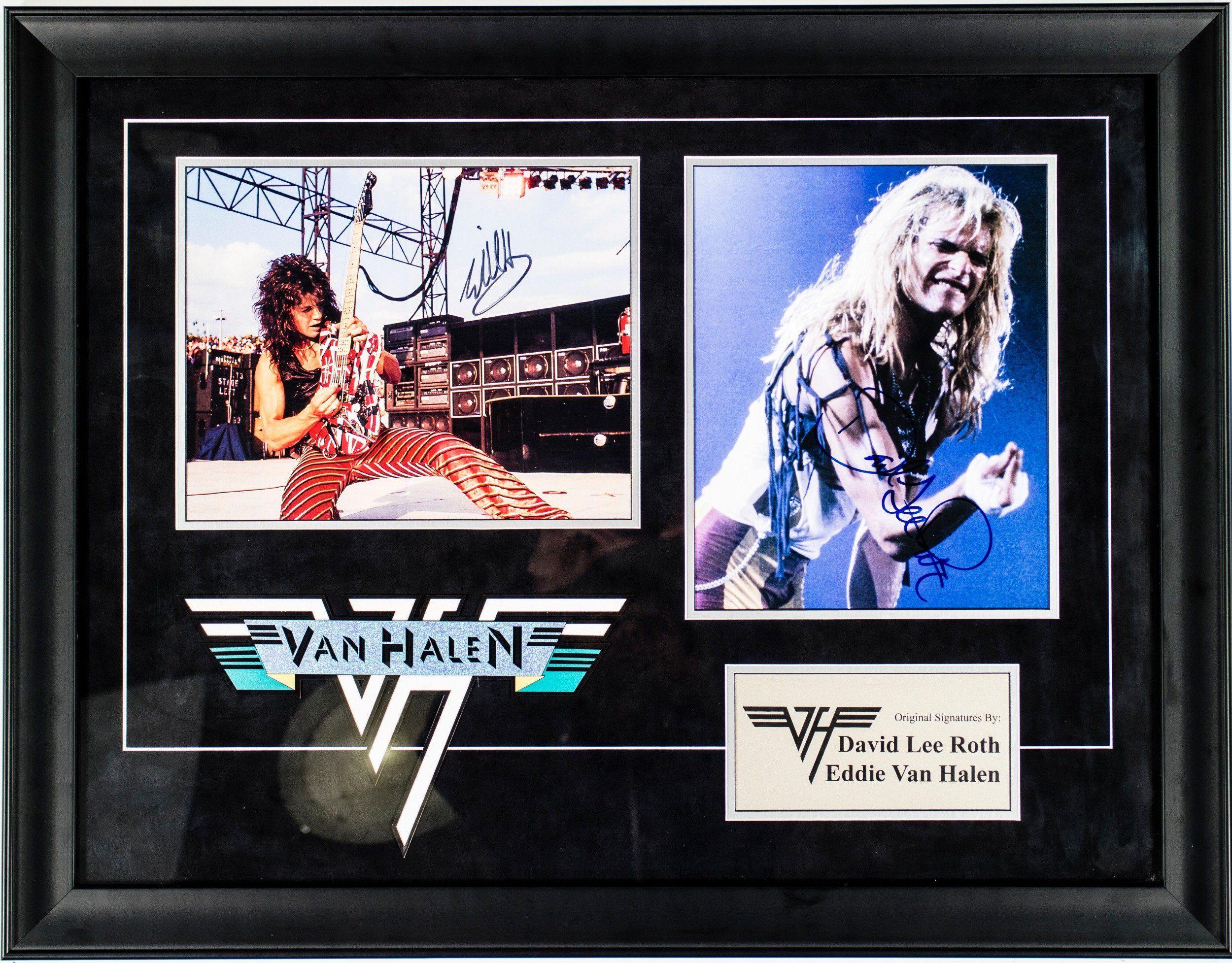 Eddie Van Halen And David Lee Roth Signed Photos In Custom Framed Case Eddie Van Halen Van Halen David Lee Roth