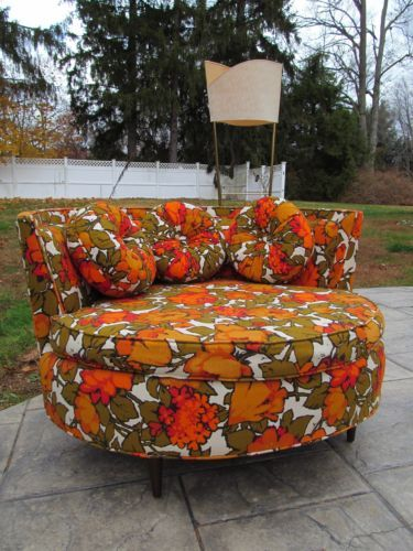 1960s Mid Century Hollywood Regency Modern Lounge Round Floral Chair Sofa  Chaise