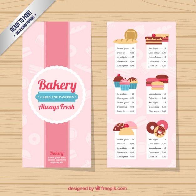 Plantilla Bonita De Menú De Panadería Vector Gratis Desayunos - Bakery brochure template