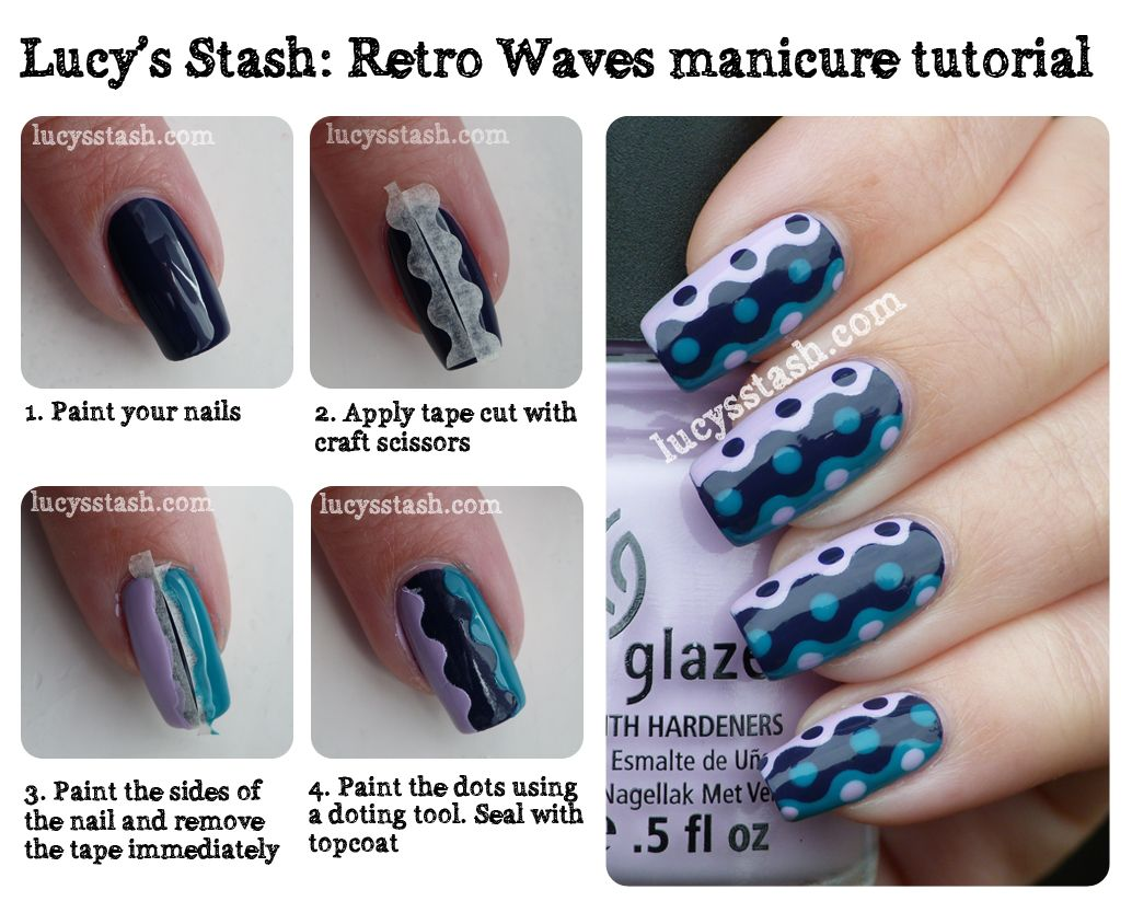 Lucy's Stash: Retro Waves manicure with tutorial! http://www.lucysstash.com/2012/07/retro-waves-manicure-with-tutorial.html