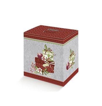 Caja de cart n decorada con motivos navide os embalajes - Cajas con motivos navidenos ...