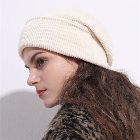 fd26f9d7314e0a Plain gray knit beanie hat for women casual winter baggy wooly hats ...