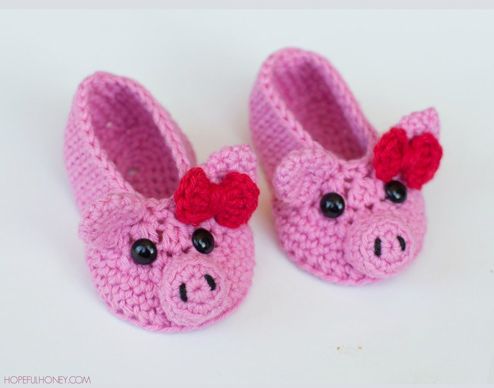Pink Piggy Baby Booties Crochet Pattern
