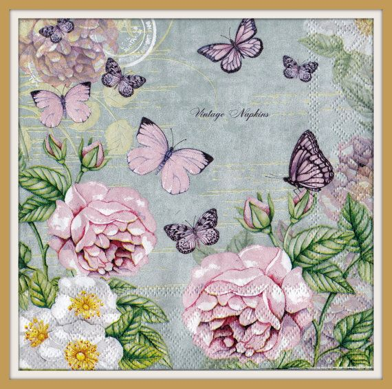 TWO Paper napkins for DECOUPAGE - Pink Roses with Butterflies #510