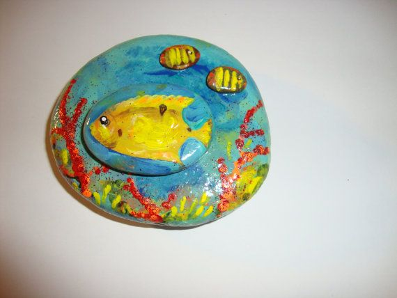 Coral Reef Fish Handpainted on a Rock by MJBousquet on Etsy
