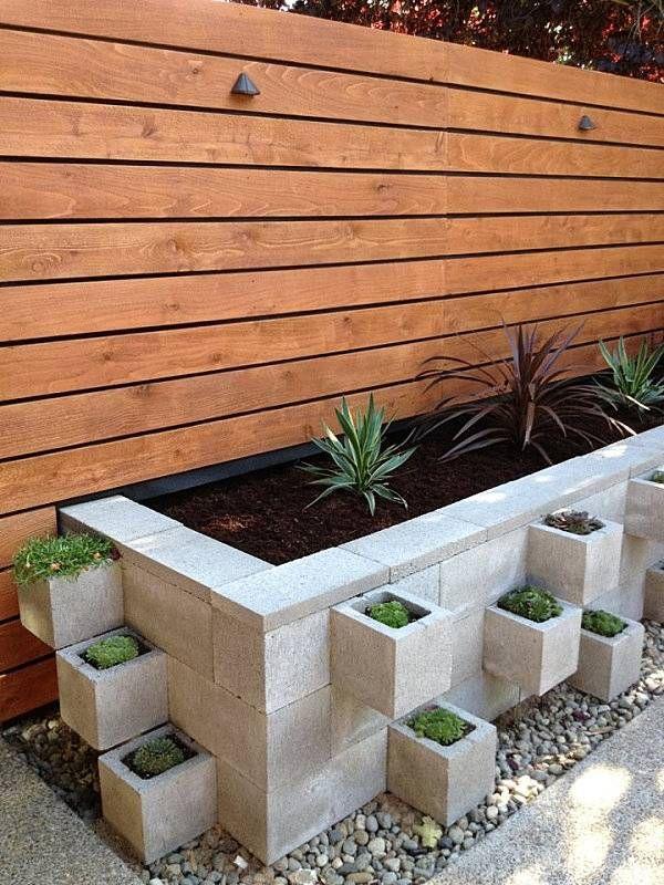 Cinder Block Garden Ideas Diy Flowerbed Modern Patio Design