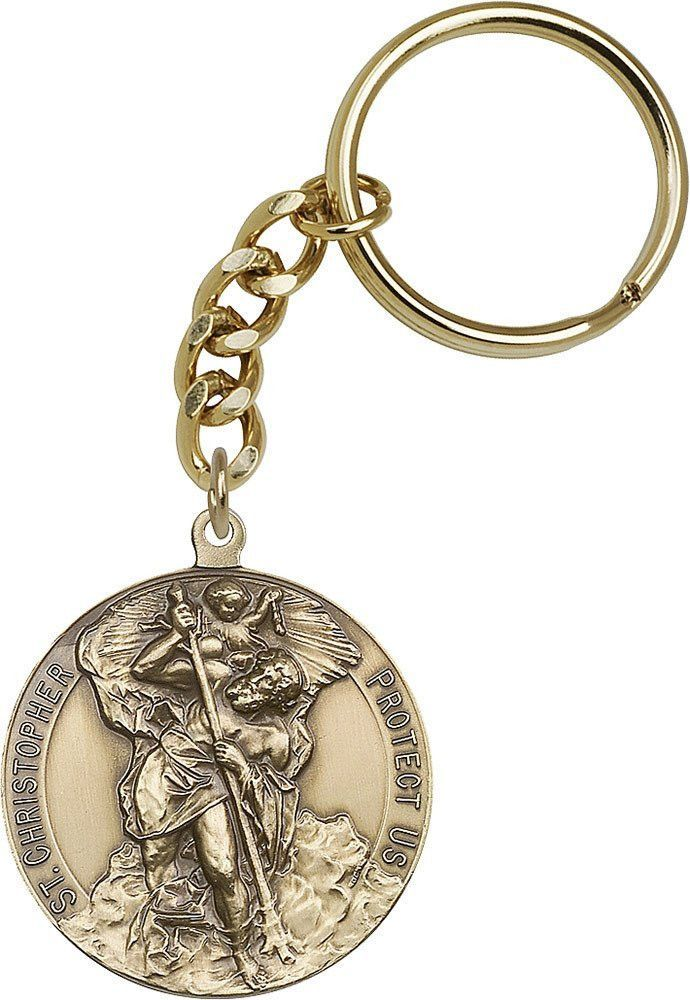 Antique Gold St. Christopher Keychain
