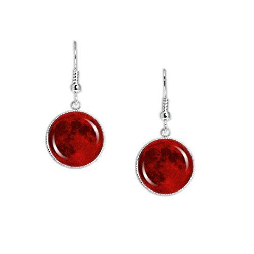 """The Blood Red Moon of Earth Dangle Earrings with 3/4"""" Sol..."""