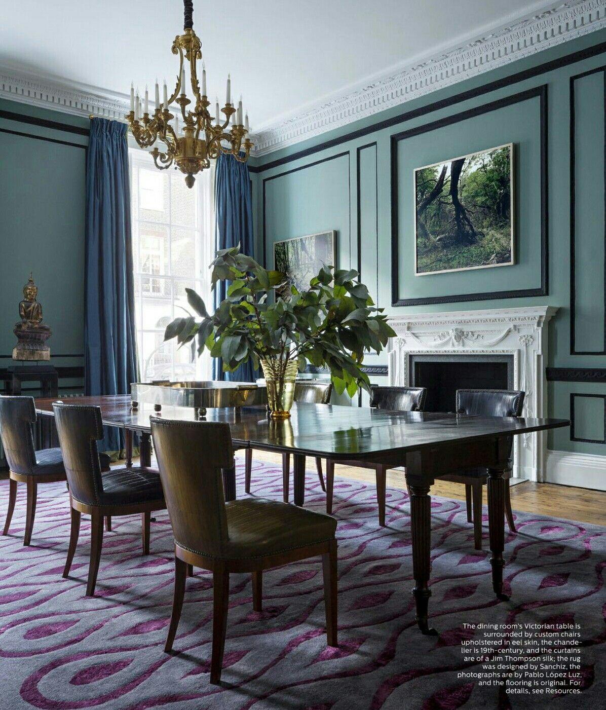 Elle Decor Interior Design By Patricia Sanchiz Blanca Fabre Purple Dining Room Dining Room Victorian Dining Room Design