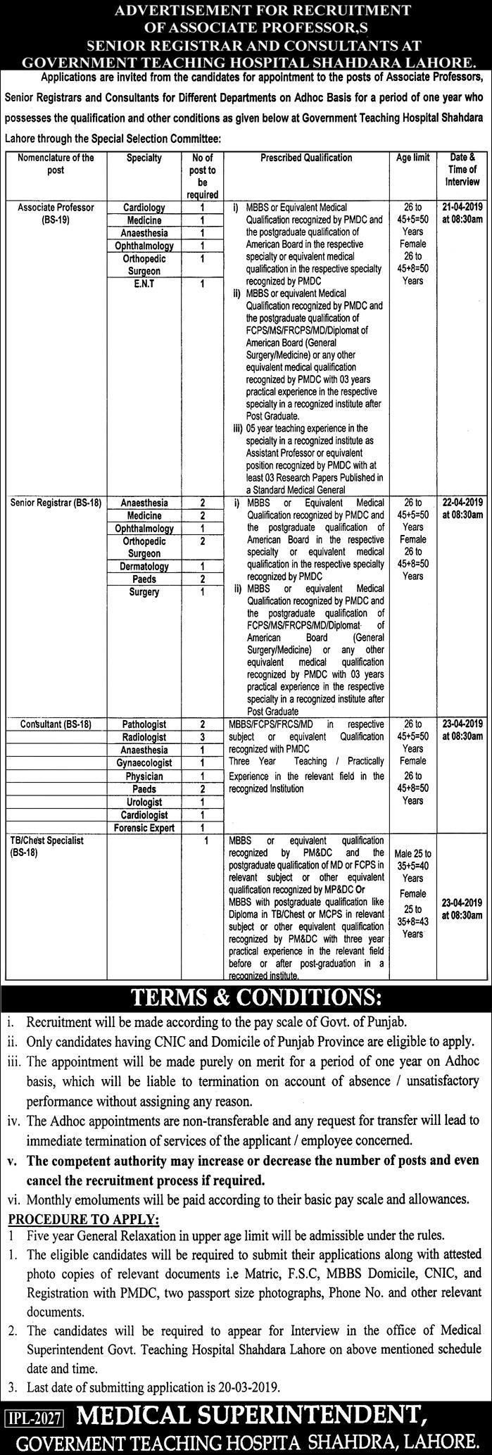 Govt Teaching Hospital Shahdara Lahore Jobs Teaching