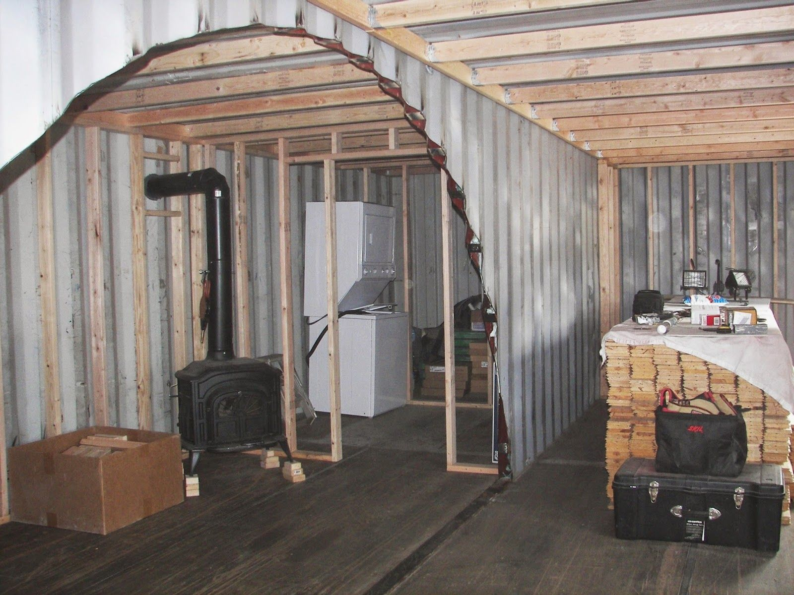 Sea shipping container cabin shelter home framing and insulation containers pinterest - Insulating shipping container homes ...