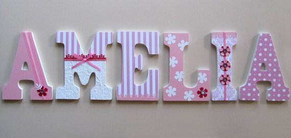 Personalized Name Letters For Nursery Or Kids Room Wooden Letters Decorated Painting Wooden Letters Decoupage
