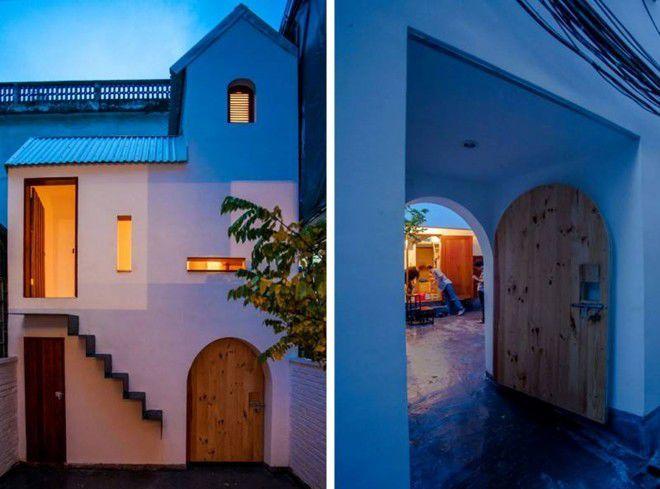 Với mong muốn đưa chất Mộc làm chủ đạo cho căn nhà của mình, các kiến trúc sư đã thực hiện ý tưởng hóa, xây dựng cổng vào hình vòm với phong cách dân dã.