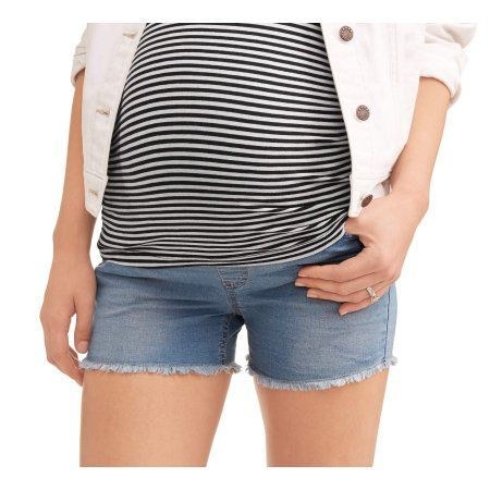 752ea4977d198 Oh Mamma Maternity Full Panel Super Soft 5 Pocket Shorts with Fringe Cuff  -- Available in Plus Sizes, Gray