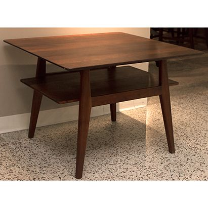 Jens Risom Danish Modern Walnut Coffee Table Two Tier With Rounded Corners And Tapered