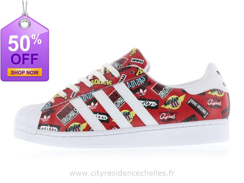 outlet store b1094 e0777 Adidas Superstar Nigo Allover Impression Scarlet Chaussures Blanc Bluebird Adidas  Super Star. Adidas SuperstarPlus BelleSuper ...