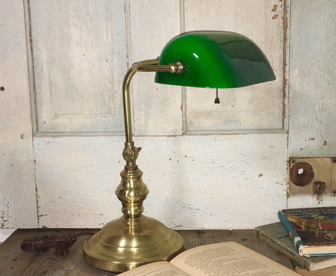 Vintage Green Shade Bankers Desk Lamp With Adjustable Ornate Desk Lamp Lamp Table Lamp Lighting