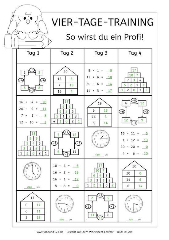 Vier-Tage-Mathe-Training (Zahlenraum bis 20) - | Rechnen | Pinterest ...