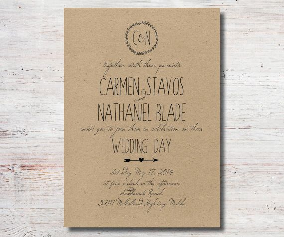 Rustic Wedding Invitation Kraft Paper By Simplyfetchingpaper 15 00