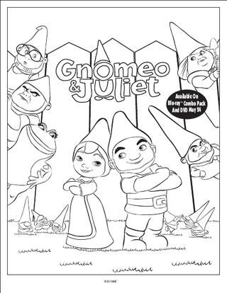 GNOMEO AND JULIET PRINTABLES | Disney coloring pages ...