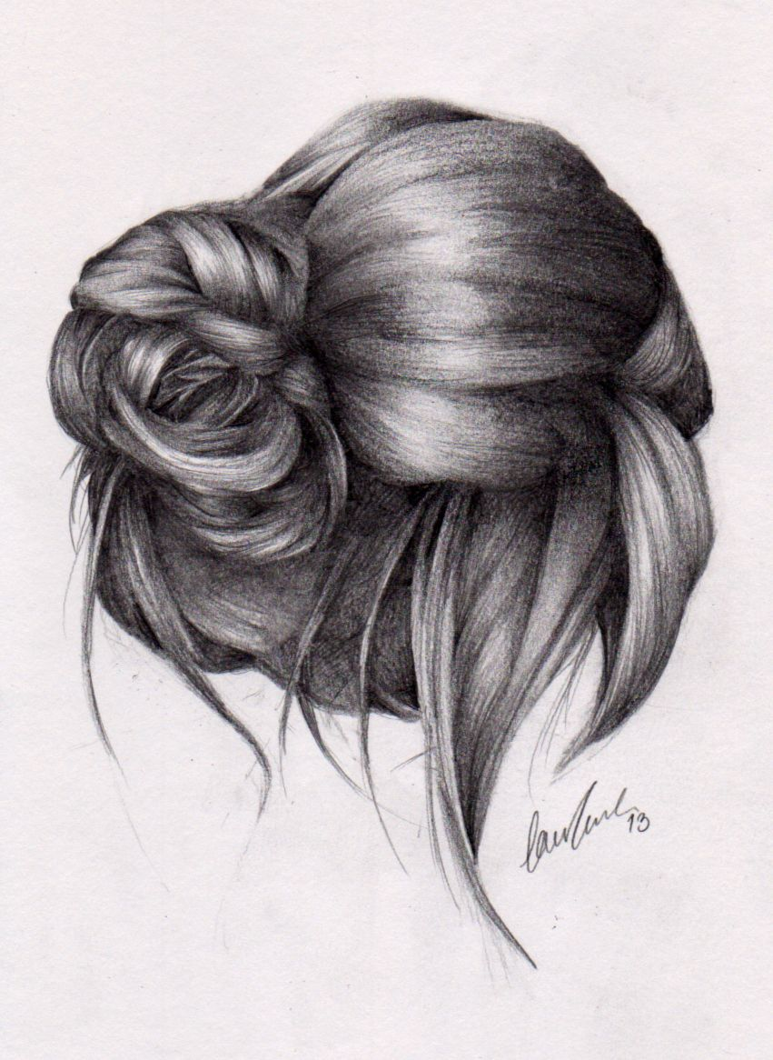 drawing front view ponytails