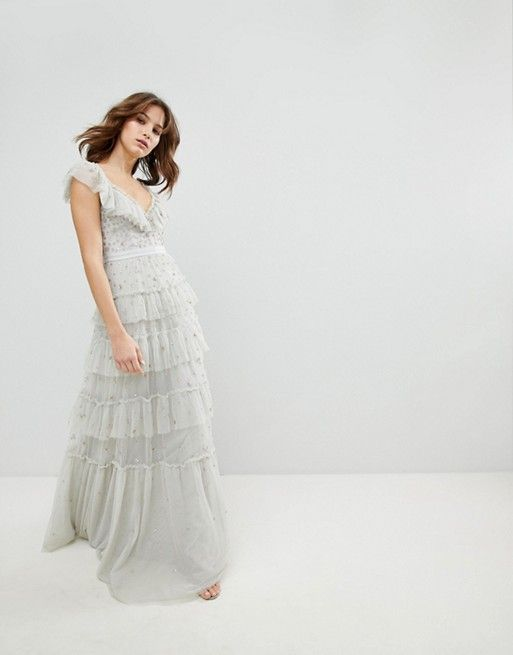 Tiered Scattered Sequin Gown - Bleached blue Needle & Thread Cheap Really View Cheap Price Clearance 2018 Unisex HyWj2gz
