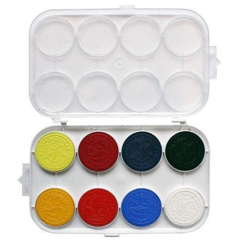 """Peiteväripaletti Ø 42mm päävärit + musta ja valkoinen. Peitevärit peittävät. Peiteväreillä voi maalata ensin tummia kohtia ja sen jälkeen lisätä vaaleampia kohtia. Peiteväreillä saa hieman kontrastisempaa jälkeä ja """"voimakkaampia"""" värejä. Peitevärejä saa myös taitettua valkoisella värinapilla. Peitevärejä myydään usein myös pulloväreinä."""