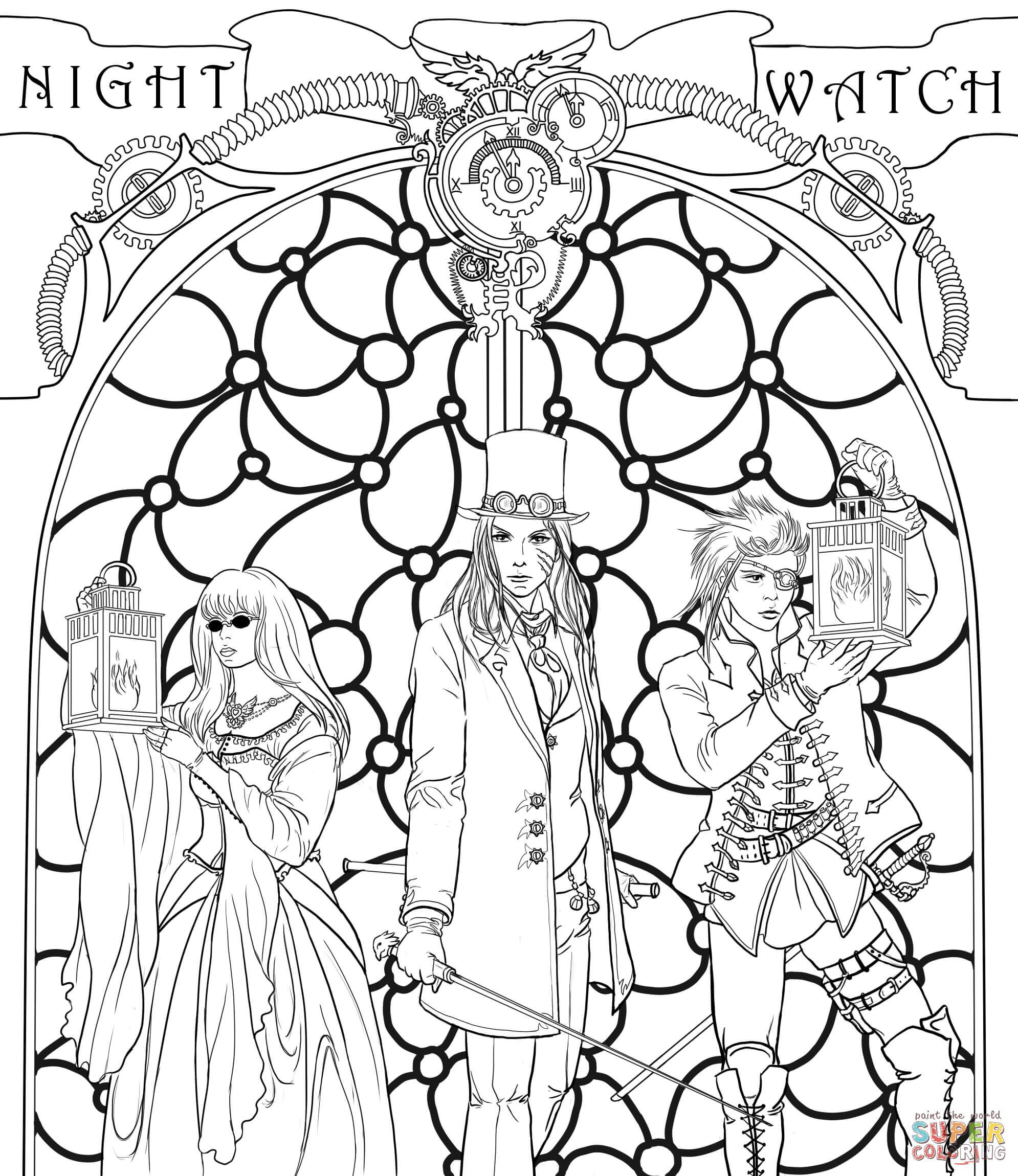 Steampunk Night Watch Crew | Super Coloring | Coloring Pages-Fantasy ...