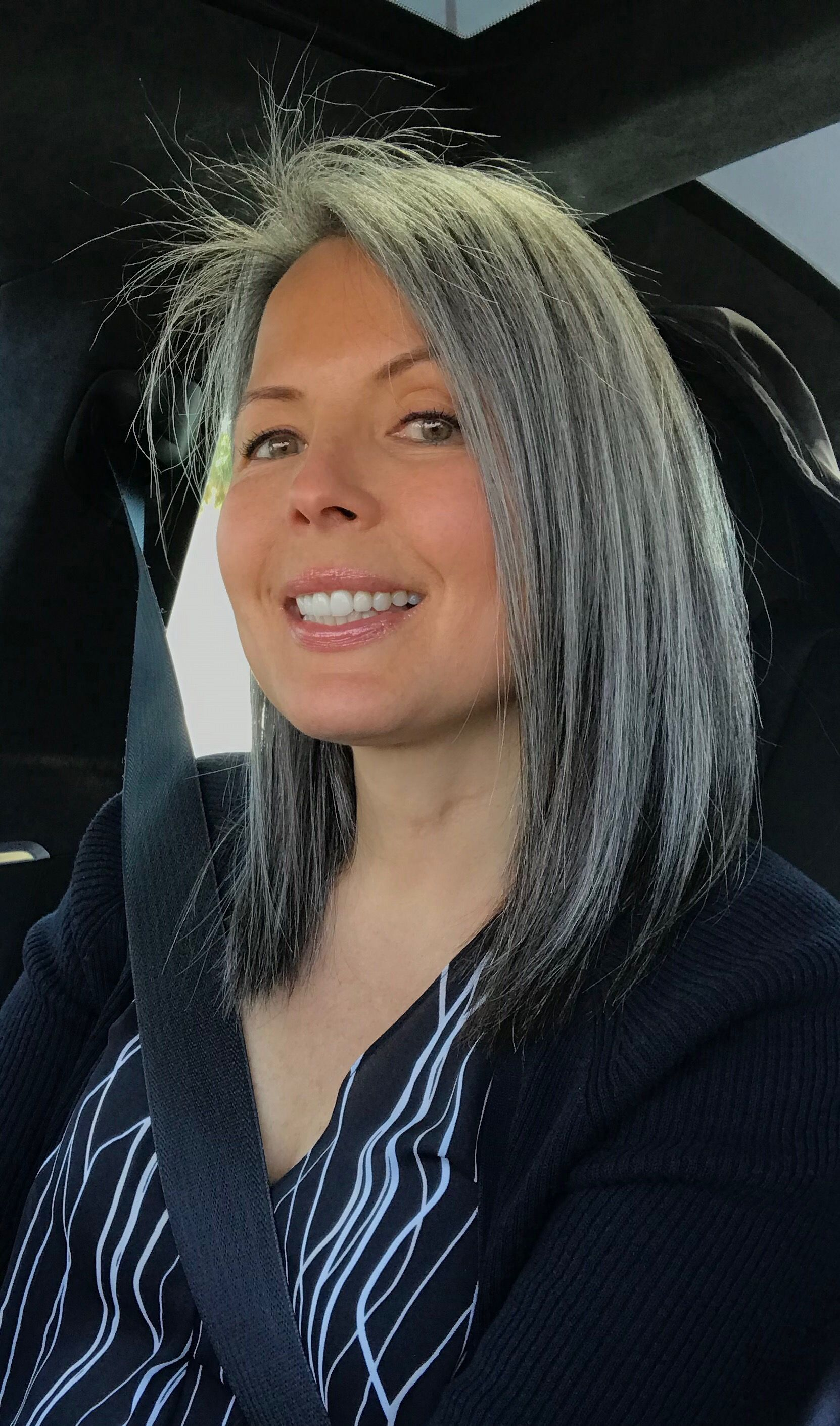 March 24, 2019 Shoulder length   Grey hair styles for ...